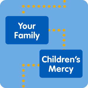 """Graphic with the words """"Your Family"""" and """"Children's Mercy"""" connected by a dotted line."""