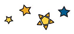 4 illustrated stars