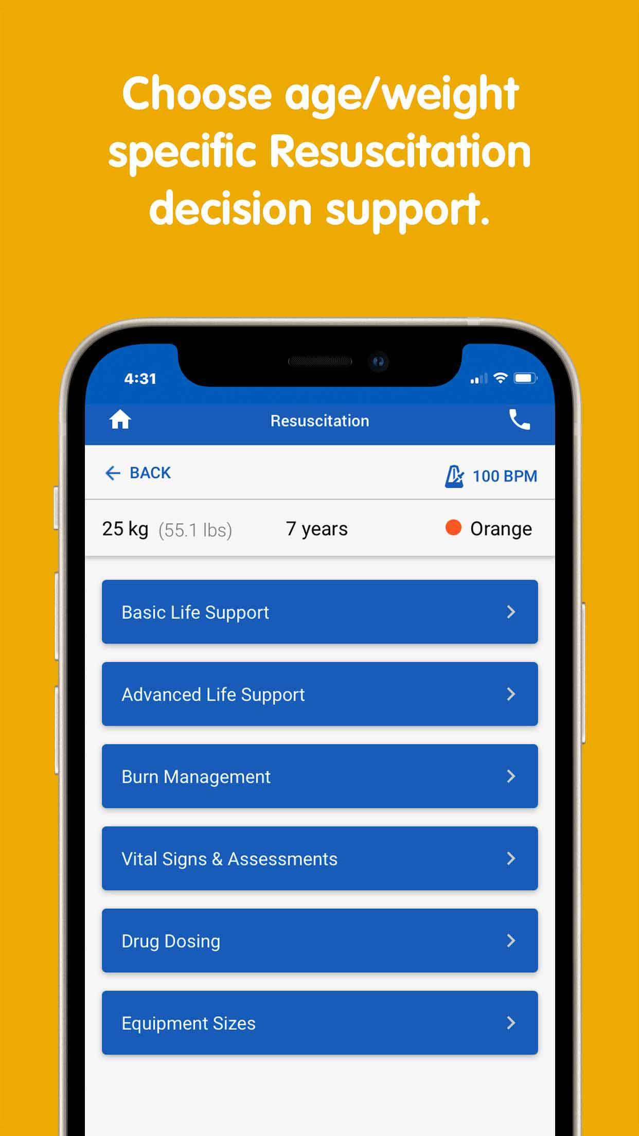 """PedsGuide App """"choose age/weight specific resuscitation decision support"""" screen"""