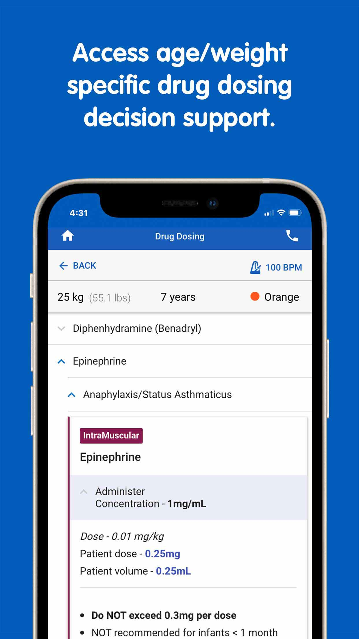 """PedsGuide App """"access age/weight specific drug  dosing decision support"""" screen"""