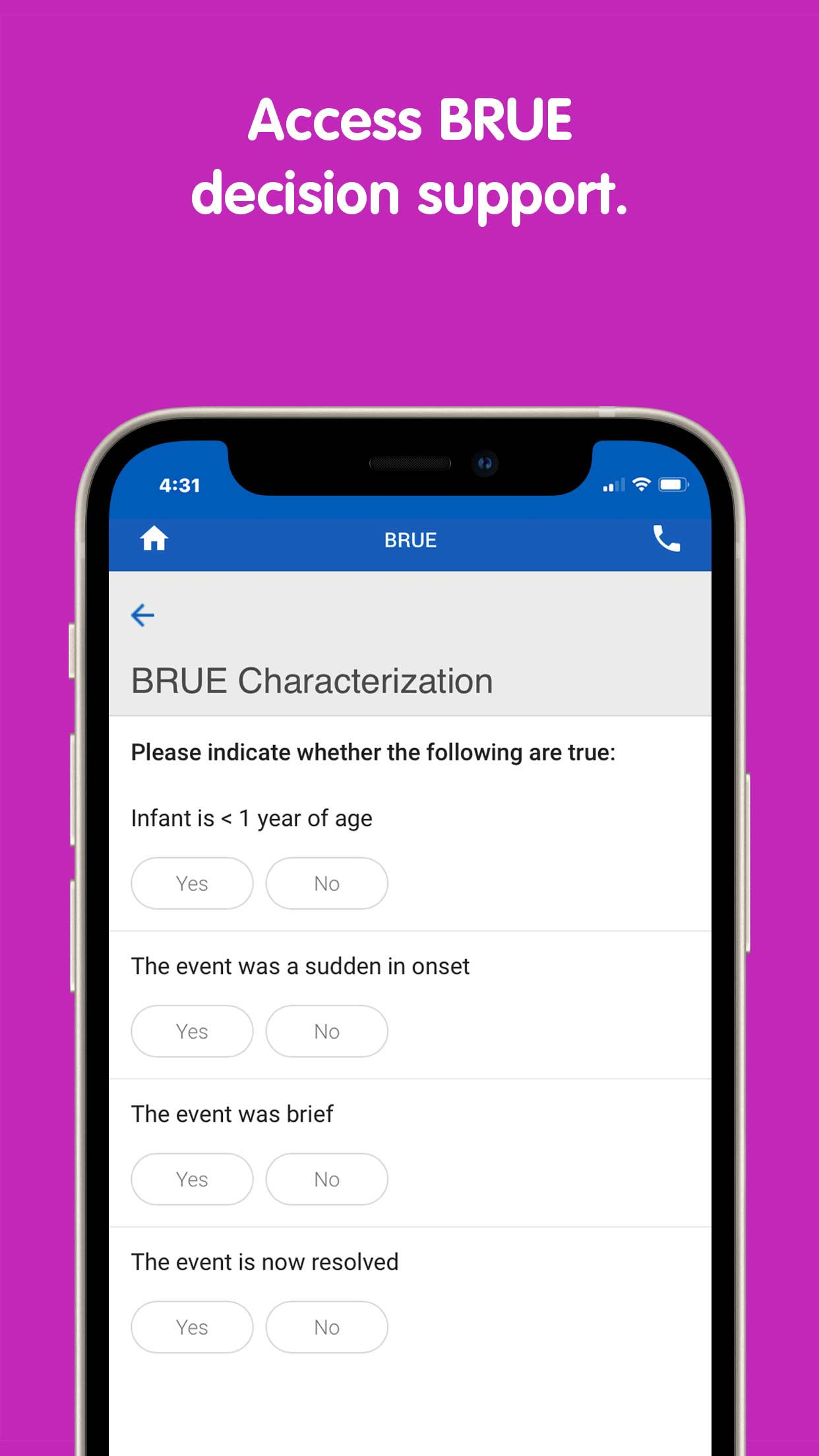 "PedsGuide App ""access BRUE decision support"" screen"