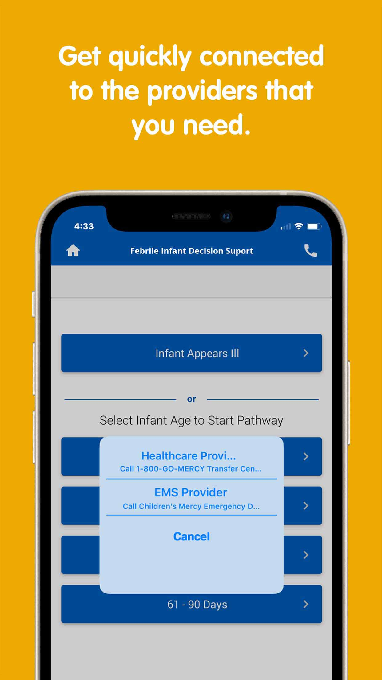 """PedsGuide App """"get quickly connected to the providers that you need"""" screen"""