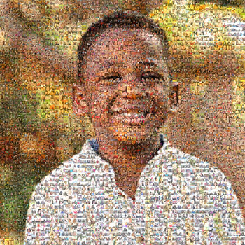 Mosaic photo pf kidney patient, Levi (photos of different patients make up one big photo of Levi).