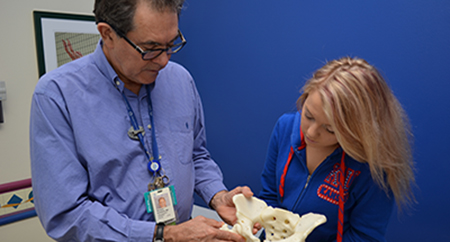 Medical personnel examine a hip bone model in the Hip Preservation Program at Children's Mercy..