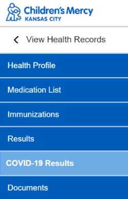 "Screenshot of  ""COVID-19 Results"" in the Patient Portal dropdown menu.al."