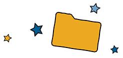 Illustrated manila folder with 4 stars around it
