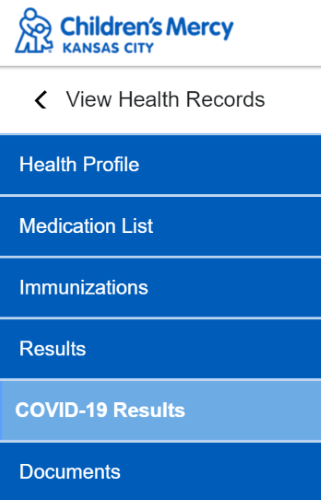 """Screenshot of """"COVID-19 Results"""" in patient portal."""