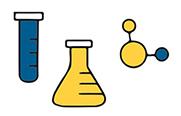 Illustrated test tube, beaker and molecule
