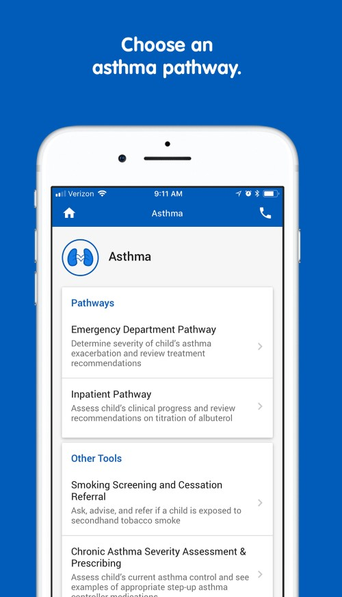 PedsGuide app asthma pathway