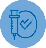 Icon of vaccine needle and checkmark.