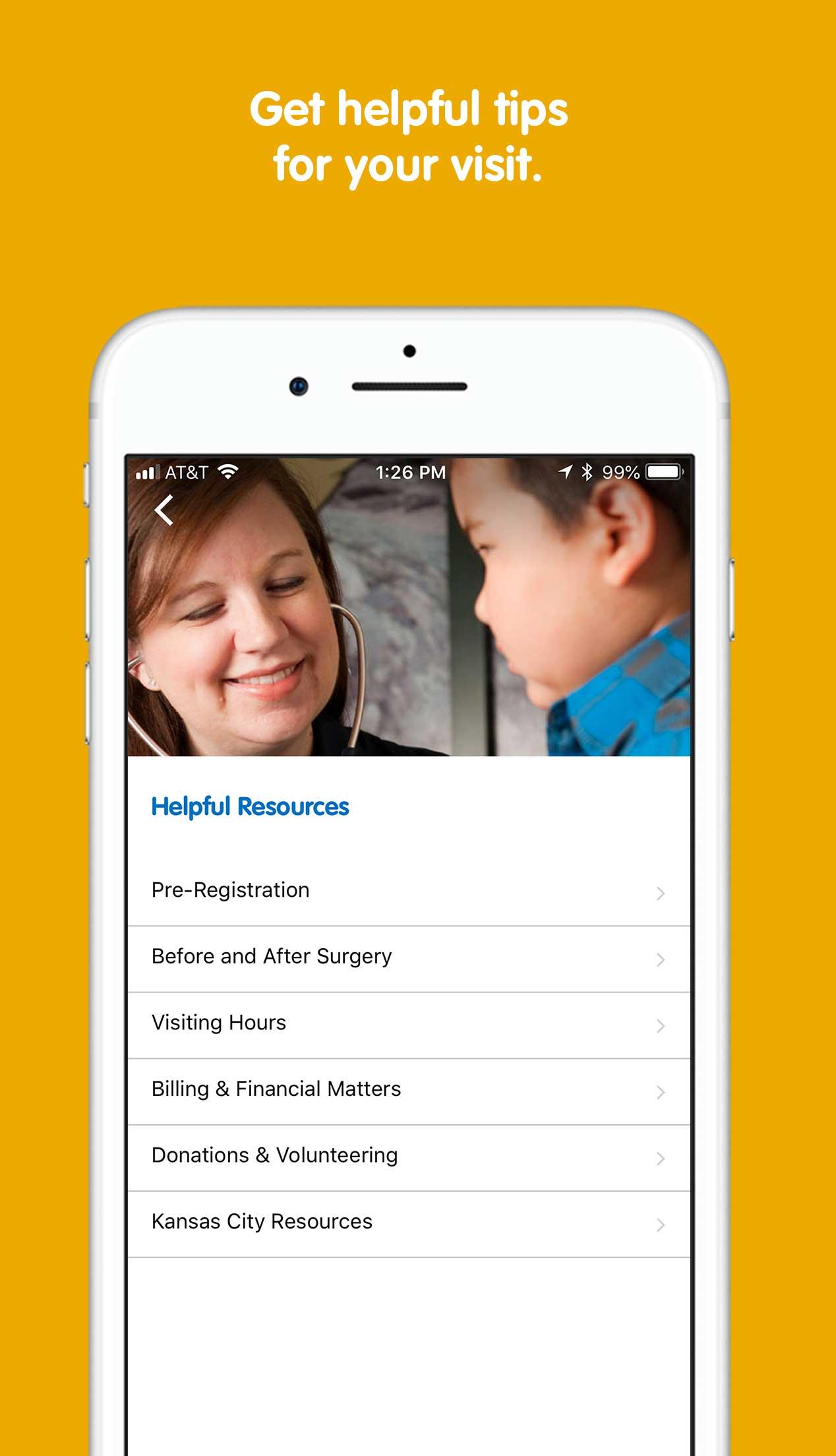 Children's Mercy Helpful Resources screen