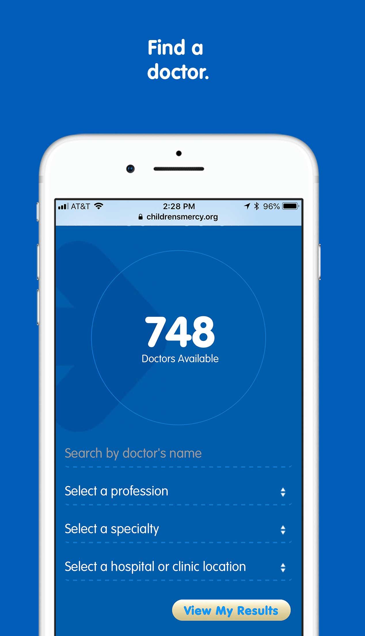 Children's Mercy app Find a Doctor screen