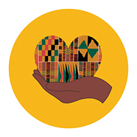 Illustration of a brown hand holding a heart with a Kente design inside the heart.