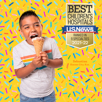 Sebastian, a young boy, enjoys ice cream as he celebrates How Sweet It Is to see the USNWR rankings