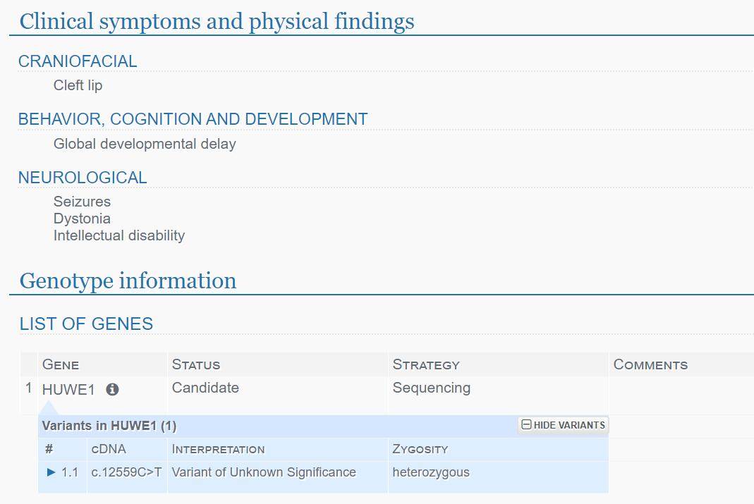 PhenoTips Clinical Symptoms graphic