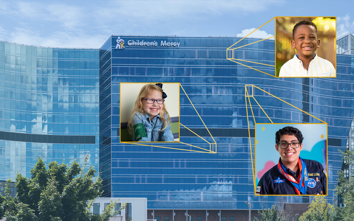 The CMRI building with three Children's Mercy patients faces coming out of three windows