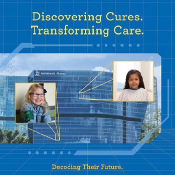 """The CMRI building with two Children's Mercy patients faces coming out of two windows. Images reads, """"Discovering Cures. Transforming Care. Decoding Their Future."""""""