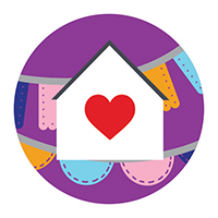 House icon with read heart in the center and papel picados in the background.