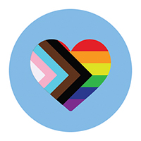 Heart shape on a light blue background. Inside the heart are stripes of different colors: white, pink, light blue, brown, black, read, orange, yellow, green, dark blue, and purple.