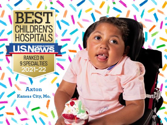 Axton, a young girl, enjoys ice cream to celebrate the recognition that Children's Mercy has received.