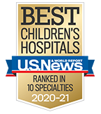 USNWR Award for Best 10 Specialties at Children's Mercy.