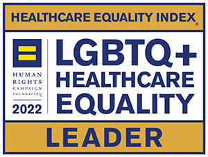"""Logo that reads, """"Healthcare Equality Index, Human Rights Campaign Foundation 2020, LGBTQ Healthcare Equality Leader."""""""