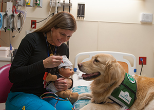 A Child Life Specialist visits Hope in the EMU at Children's Mercy.