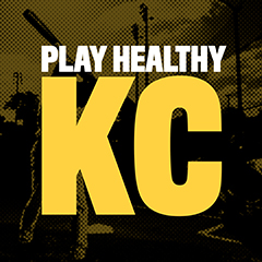 """Yellow background with bold black words that read, """"Play Healthy KC."""""""