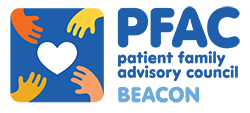Graphic of four hands reaching for a heart and the words: PFAC patient family advisory council BEACON