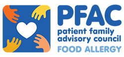 Graphic of four hands reaching for a heart and the words: PFAC patient family advisory council FOOD ALLERGY