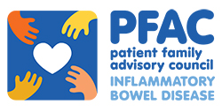 Graphic of four hands reaching for a heart and the words: PFAC patient family advisory council INFLAMMATORY BOWEL DISEASE