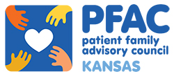 Graphic of four hands reaching for a heart and the words: PFAC patient family advisory council KANSAS