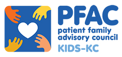 Graphic of four hands reaching for a heart and the words: PFAC patient family advisory council KIDS-KC