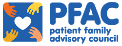 Graphic of four hands reaching for a heart and the words: PFAC patient family advisory council