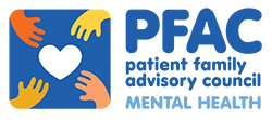 Graphic of four hands reaching for a heart and the words: PFAC patient family advisory council MENTAL HEALTH