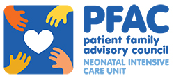 Graphic of four hands reaching for a heart and the words: PFAC patient family advisory council NEONATAL INTENSIVE CARE UNIT