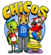 """Word """"CHiCoS"""" with illustrated turtle, cheetah and parrot dressed in clothes and smiling"""